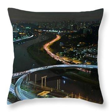 Sao Paulo Skyline Modern Corporate Districts Brooklin Morumbi Chacara Santo Antonio Throw Pillow
