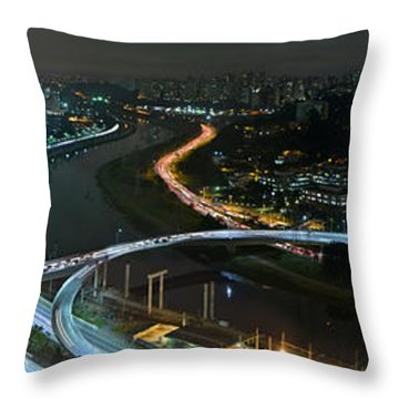 Sao Paulo Skyline Modern Corporate Districts Brooklin Morumbi Chacara Santo Antonio Throw Pillow