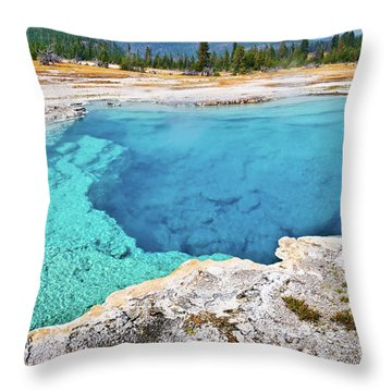 Sapphire Pool, Biscuit Basin Throw Pillow