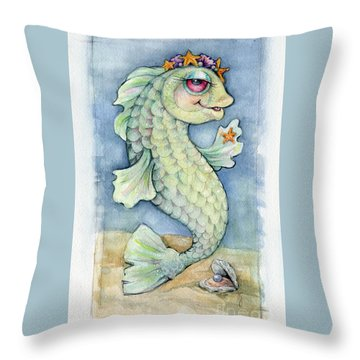 Throw Pillow featuring the painting Sarafina Seabling by Lora Serra