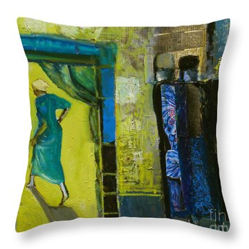 Sarah And The Three Angels Throw Pillow by Richard Mcbee