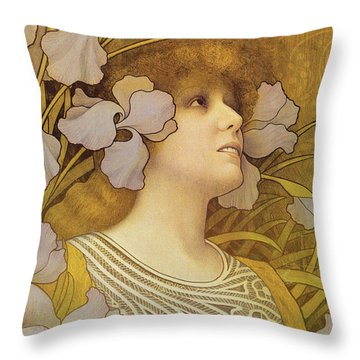 Sarah Bernhardt Throw Pillow by Paul Berthon