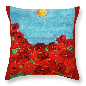 Sarah's Poppies Throw Pillow