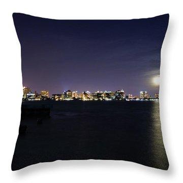 Sarasota Cityscape-night-full Moon 2 Throw Pillow