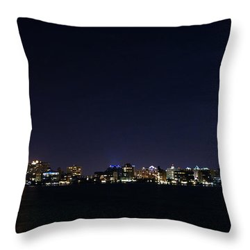 Sarasota Cityscape-night-full Moon Throw Pillow