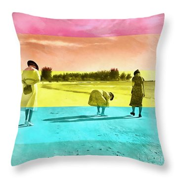 Throw Pillow featuring the painting Sarasota Series Beachcombers by Edward Fielding