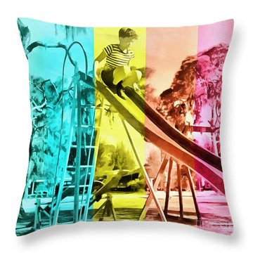 Throw Pillow featuring the painting Sarasota Series Trailer Park Playground by Edward Fielding