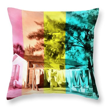 Throw Pillow featuring the painting Sarasota Series Wash Day by Edward Fielding