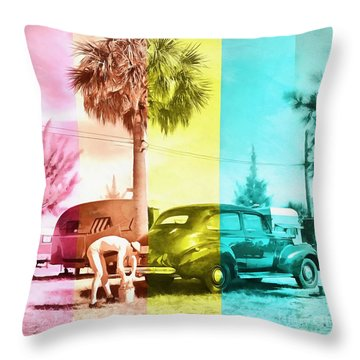 Throw Pillow featuring the painting Sarasota Series Wash The Car by Edward Fielding