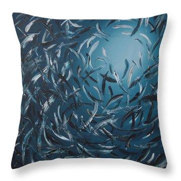 Sardines Ball Throw Pillow by Lilu Lilu