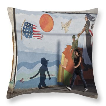 Throw Pillow featuring the photograph Sardinia Wall Painting  by Juergen Held