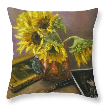 Sargent And Sunflowers Throw Pillow by Lisa  Spencer