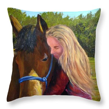 Sasha And Chelsea Throw Pillow by Tami Booher