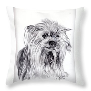 Yorkie Lady Throw Pillow by Beverly Johnson