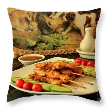 Satay Chicken Throw Pillow by Katy Mei