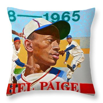 Throw Pillow featuring the painting Satchel Paige by Cliff Spohn