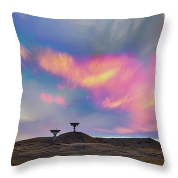 Throw Pillow featuring the photograph Satellite Dishes Quiet Communications To The Skies by James BO Insogna