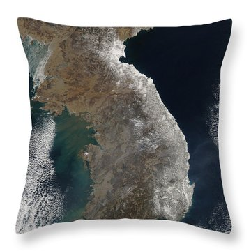 Satellite View Of Snowfall Along South Throw Pillow by Stocktrek Images