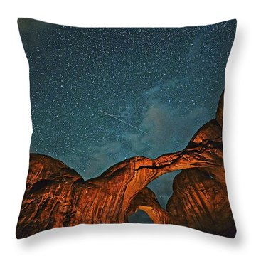 Satellites Crossing In The Night Throw Pillow