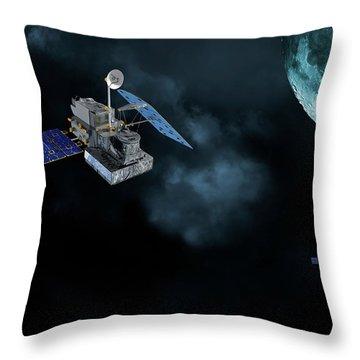 Satellites In Orbit Around The Moon Throw Pillow
