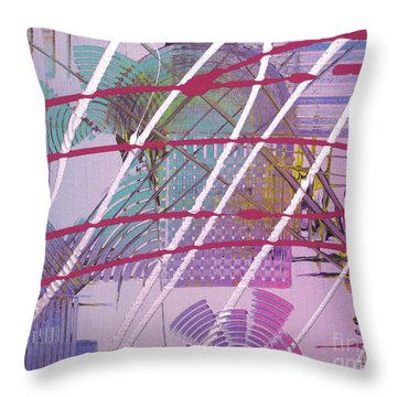 Throw Pillow featuring the painting Satellites by Melissa Goodrich