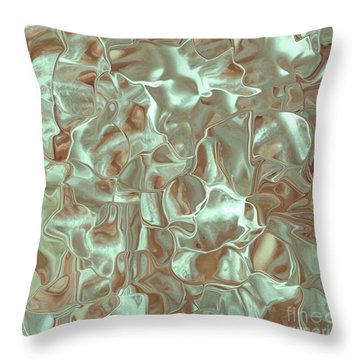 Satin Mint Rust Throw Pillow by Cindy Lee Longhini