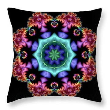 Satin Rainbow Fractal Flower I Throw Pillow