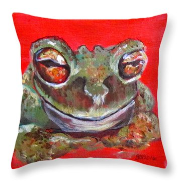 Satisfied Froggy  Throw Pillow