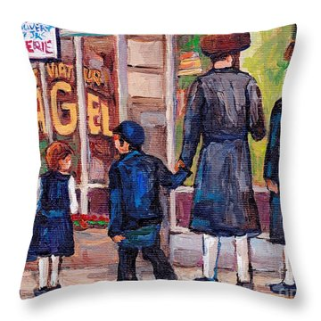 Satmar Rabbis Summer Stroll St Viateur Street Scene Canadian Artist C Spandau Jewish Neighborhoods   Throw Pillow