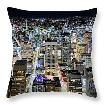Throw Pillow featuring the photograph Seattle Lights by Mihai Andritoiu