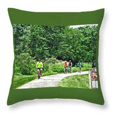 Saturday Bike Ride Throw Pillow