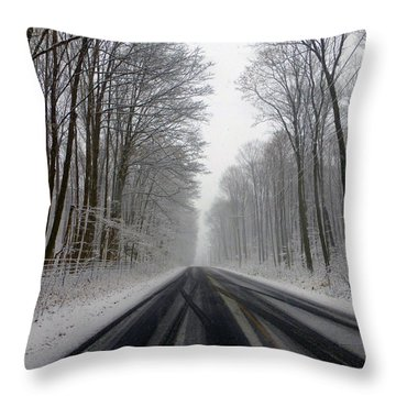Saturday First Snow Of 2015 Throw Pillow
