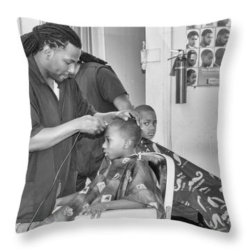 Saturday Morning At Joe's Barbershop Throw Pillow by Patricia Schaefer