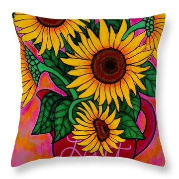 Saturday Morning Sunflowers Throw Pillow