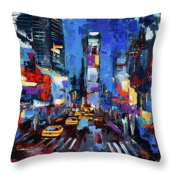 Throw Pillow featuring the painting Saturday Night In Times Square by Elise Palmigiani