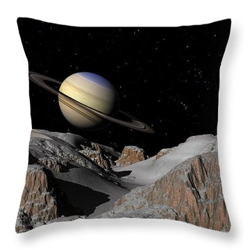 Saturn From The Moon Dione Throw Pillow