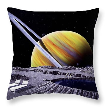 Saturn Spa Throw Pillow by Snake Jagger
