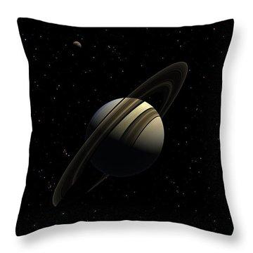 Saturn With Titan Throw Pillow