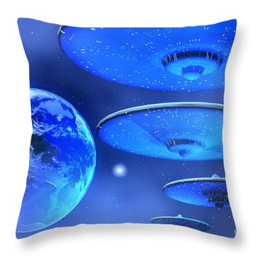 Saucers Throw Pillow by Corey Ford