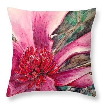 Saucy Magnolia Throw Pillow by Vonda Lawson-Rosa
