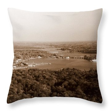 Saugatuck Michigan Harbor Aerial Photograph Throw Pillow by Michelle Calkins