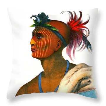 Throw Pillow featuring the photograph Sauk Warrior 1842 by Padre Art