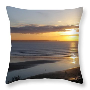 Saunton Sands Sunset Throw Pillow