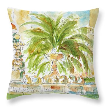 Throw Pillow featuring the painting Sausalito Fountain by Pat Katz
