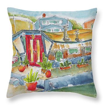 Throw Pillow featuring the painting Sausalito Houseboat by Pat Katz