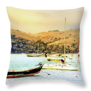 Sausalito Sailboats Throw Pillow by Laura DAddona