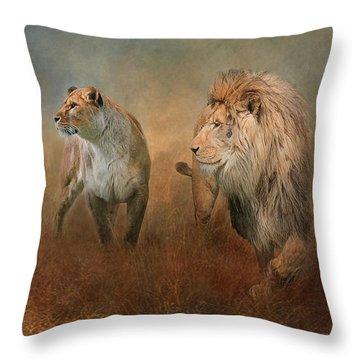 Savanna Lions Throw Pillow