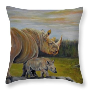 Savanna Overlook, Rhinoceros  Throw Pillow