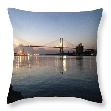 Savannah Bridge Evening  Throw Pillow