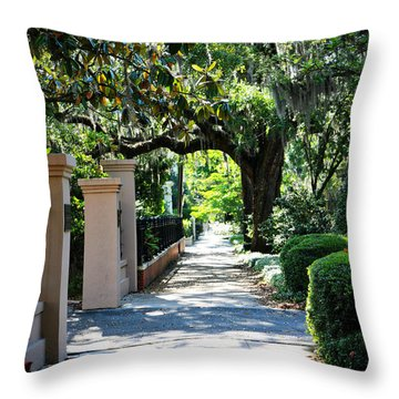 Savannah Sidewalk With Magnolia Tree Throw Pillow